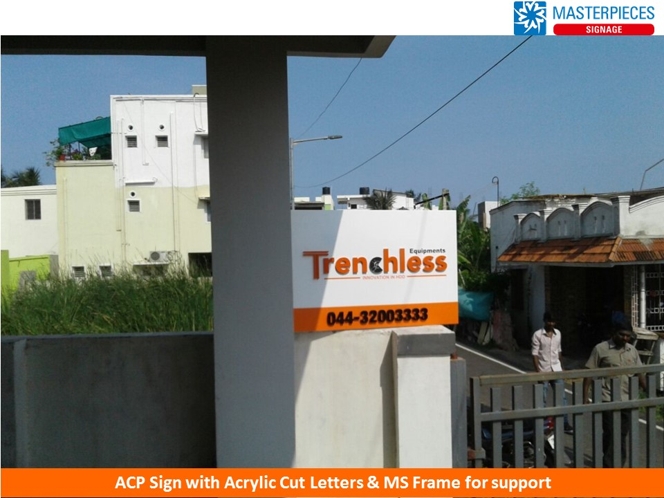 ACP Sign with Acrylic Cut Letters, Trenchless Equipment