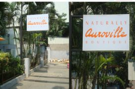 Backlit Sign with Square Pole Cantilever Type Support, Auroville