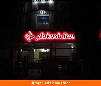 Signage Aakash Inn, Neon