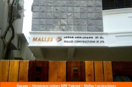 Signage, Aluminium Letters MRF painted , Malles Constructions
