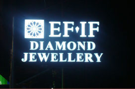 Signage, EFIF Diamonds, Acrylic CAP Ltrs with LED N