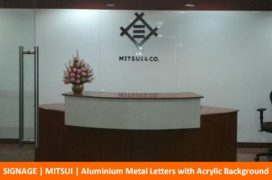 Signage, Mitsui, Aluminium Metal Letters with Acrylic Background
