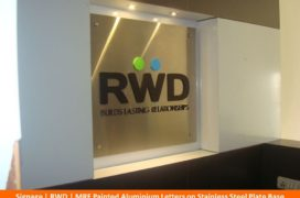 Signage, RWD, MRF painted ALuminium Letters on Stainless Steel Plate Base (2)