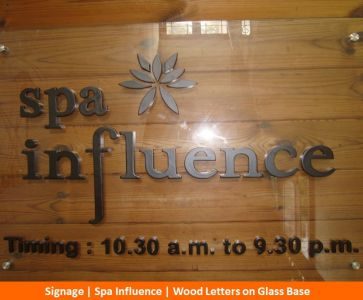 Signage, Spa Influence, Wood Letters on Glass Base