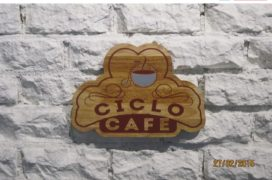 Wood Cut Sign, Ciclo Cafe