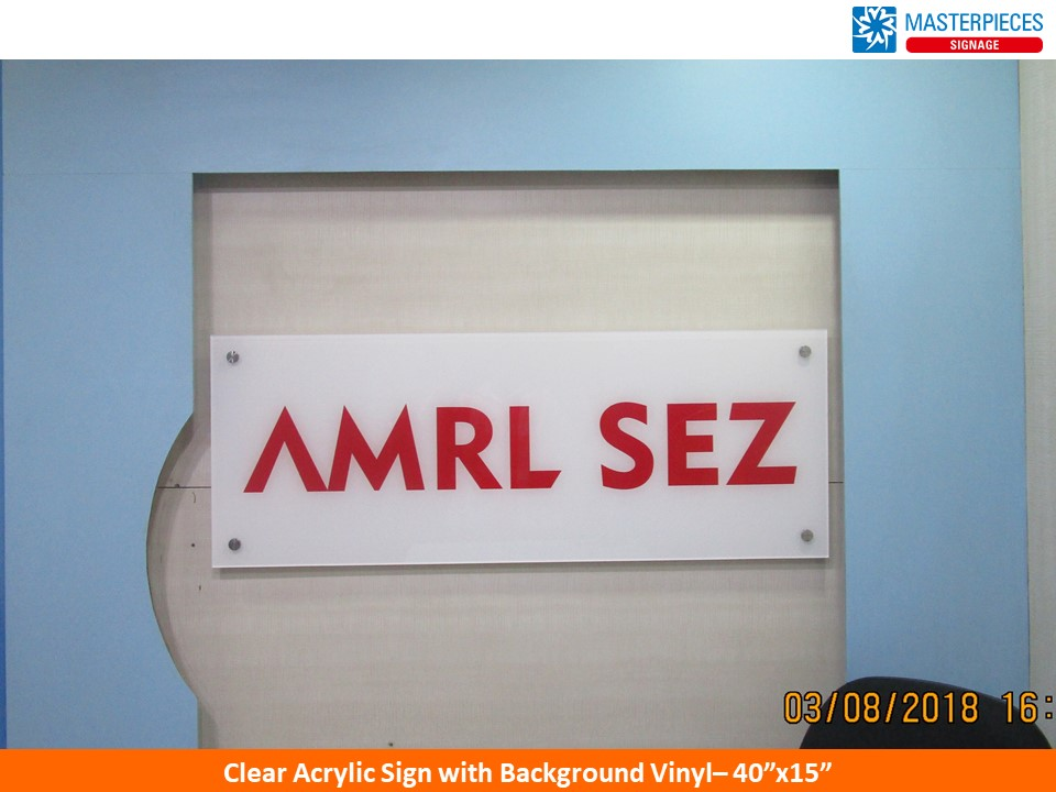 Clear Acrylic Sign with Background Vinyl