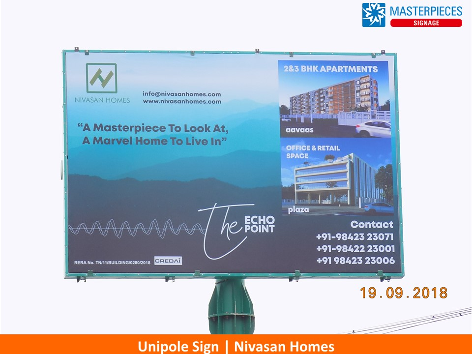 Nivasan Homes Unipole Sign close