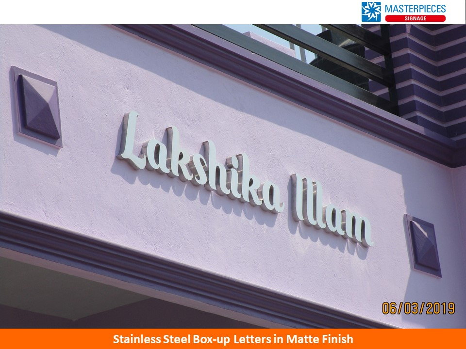 Lakshika Illam- Stainless steel box-up letters in matte finish